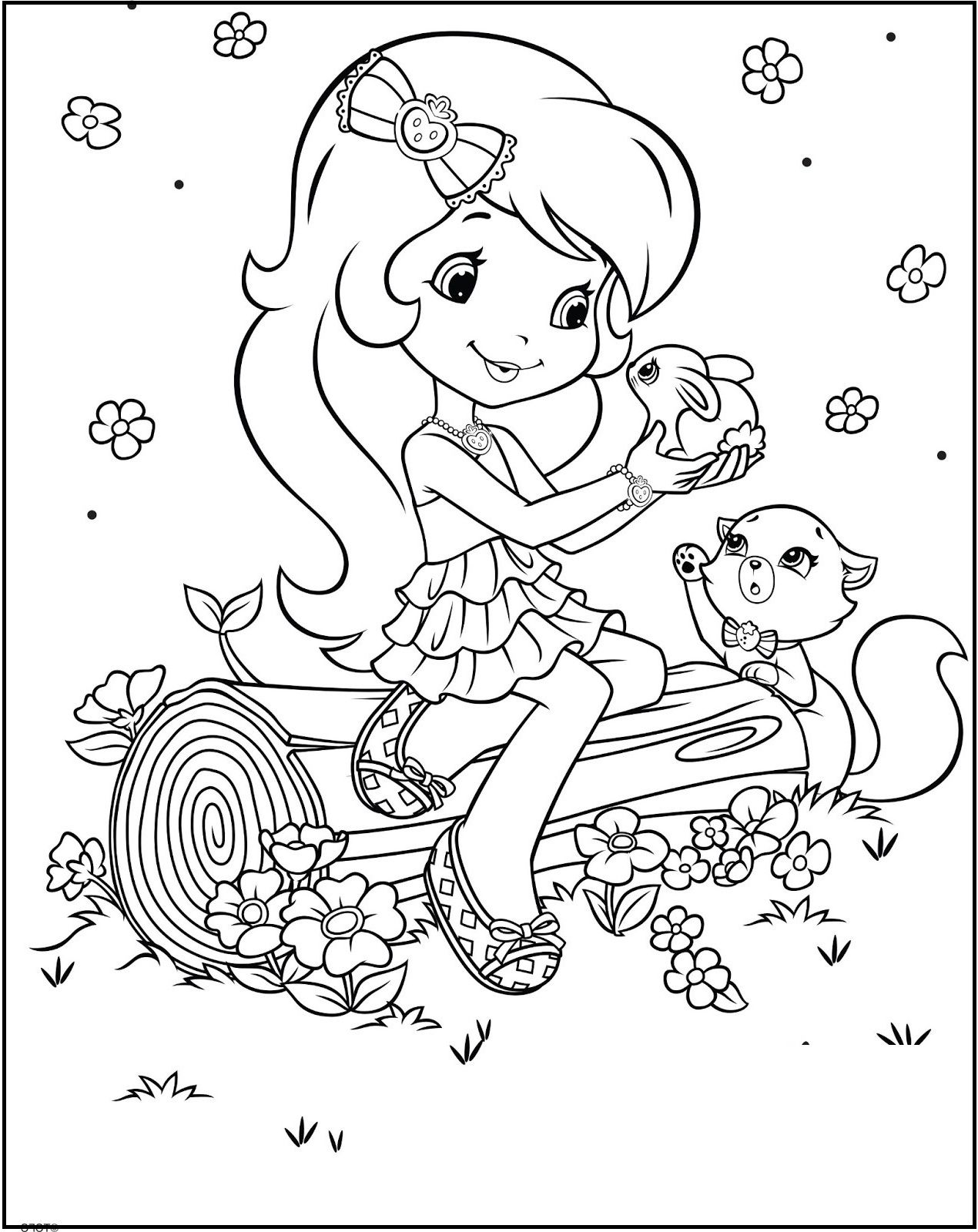 Strawberry Shortcake Loving Animals coloring picture for kids ...
