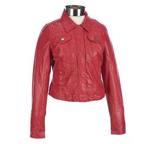 Denim-Style Faux Leather Jacket- Jr.