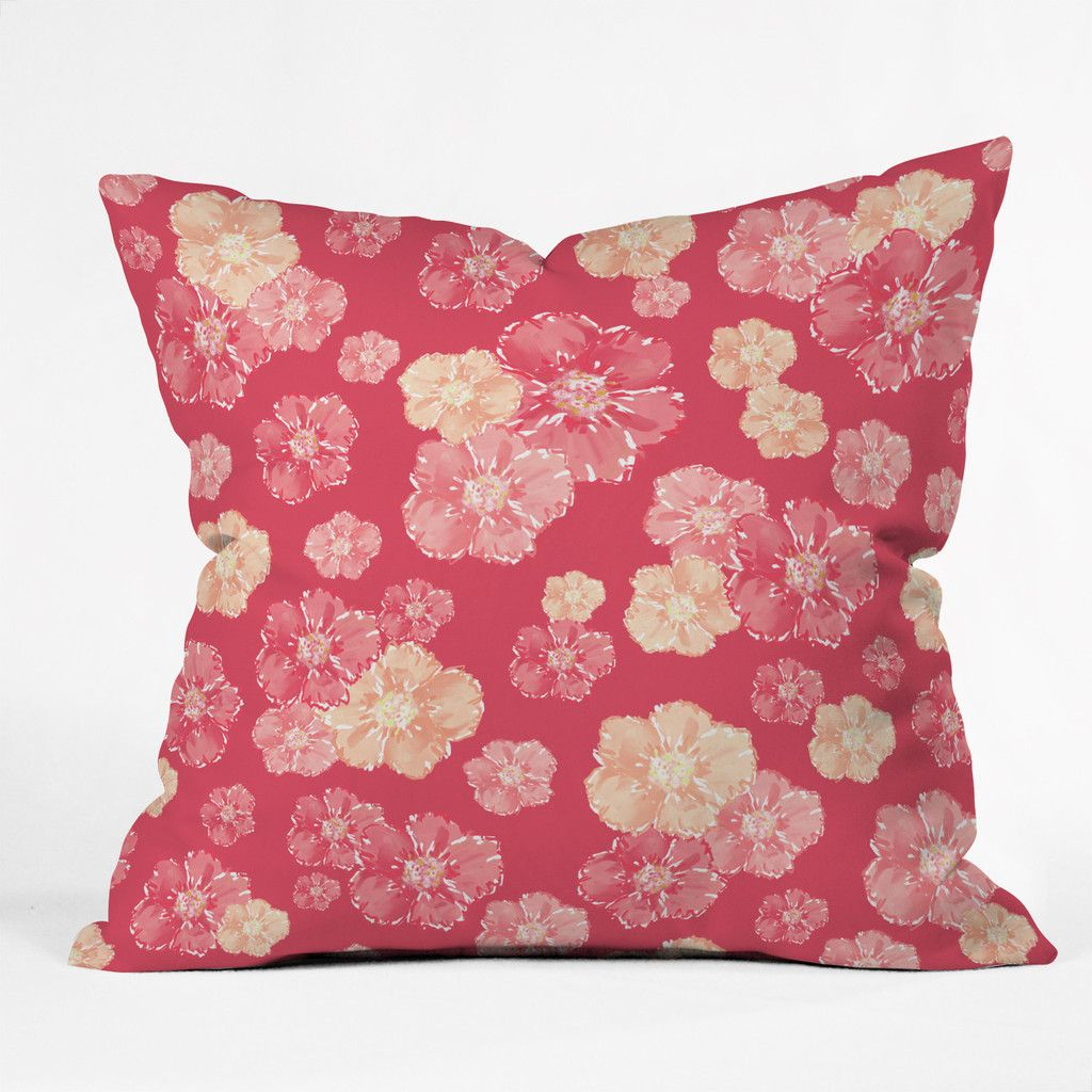 Lisa Argyropoulos Blossoms On Coral Throw Pillow | DENY Designs Home Accessories