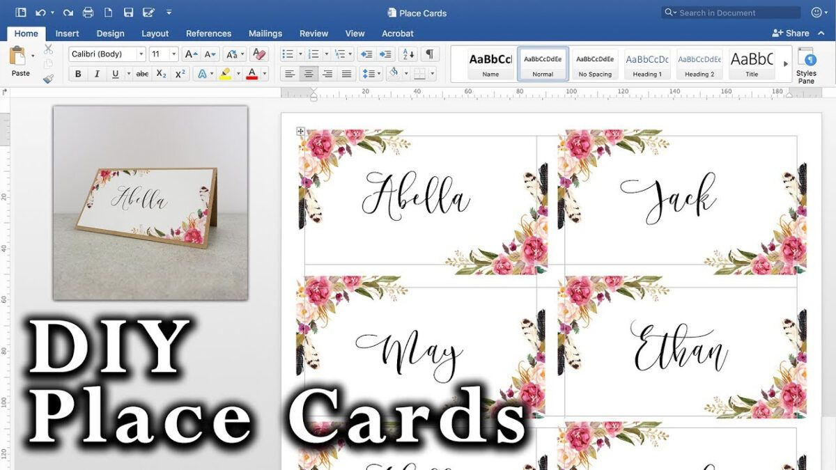 How To Make Diy Place Cards With Mail Merge In Ms Word And Adobe Illustrator Regardin In 2020 Free Place Card Template Place Card Template Wedding Place Card Templates