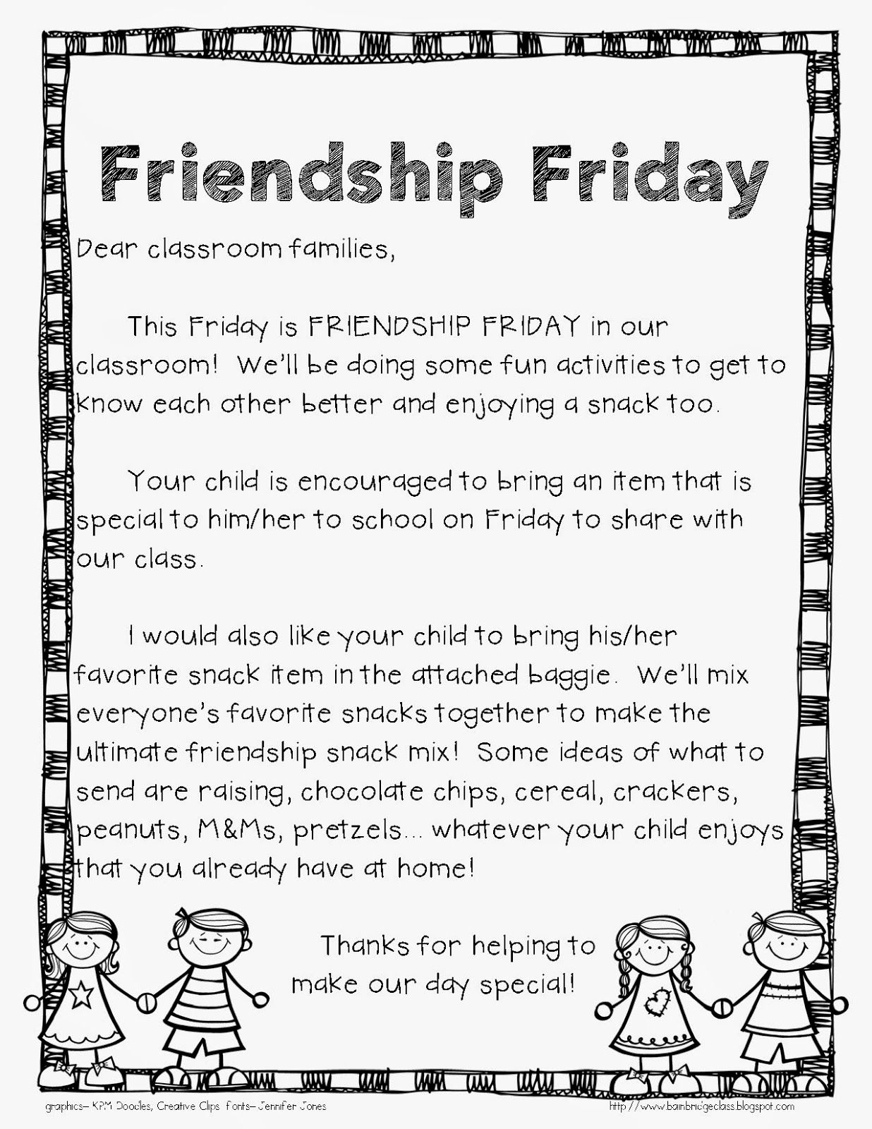 Friendship Friday... Fun Idea & Freebie!