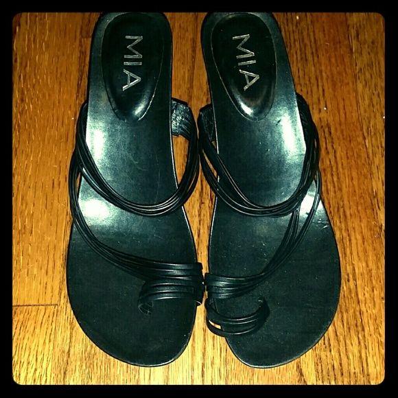 MIA BLACK STRAPPY HEEL 9M leather upper, made in Brazil, MIA black multi strap sandal. MIA Shoes