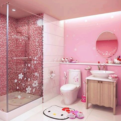 36ca9863a If your little girl is a Hello Kitty fan, then try this theme for her  bathroom!