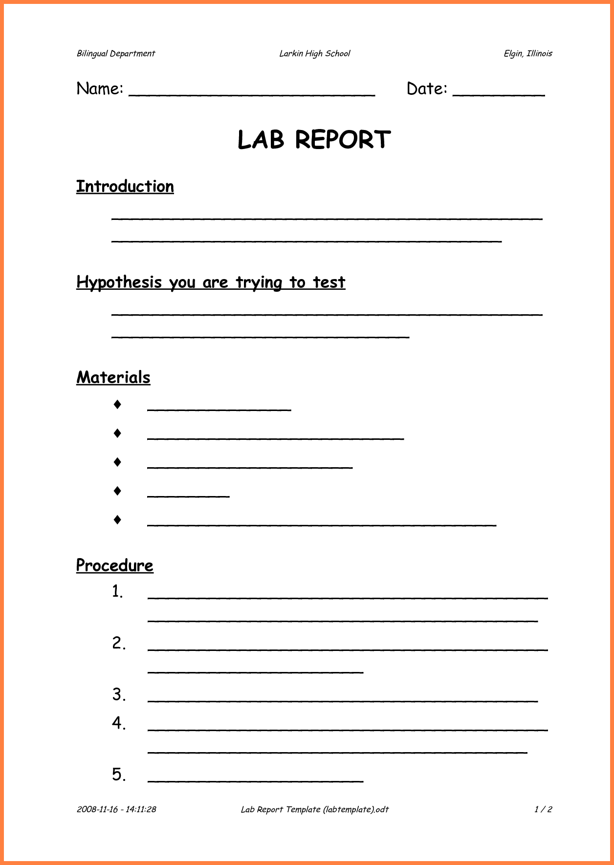 Lab Report Template High School Chemistry Word Invoice Example