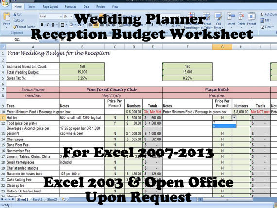 Wedding Planner, Reception Budget Worksheet, Wedding Planning