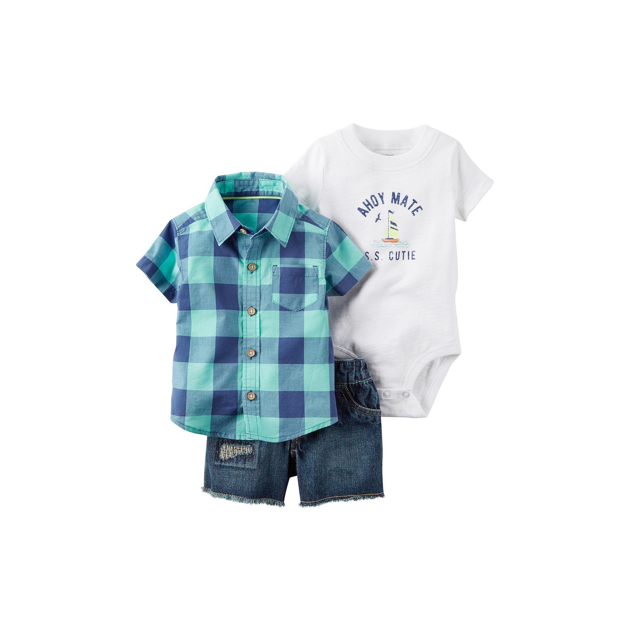 "Baby Boy Carter s Short Sleeve Plaid Button Down Shirt ""Ahoy Mate"
