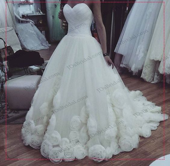 strapless rosette bottom tulle ball gown wedding dress | Ball Gown ...