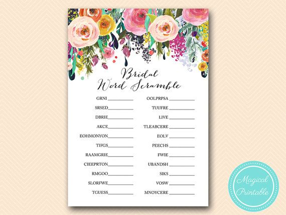 bridal word scramble unscramble game painted by magicalprintable