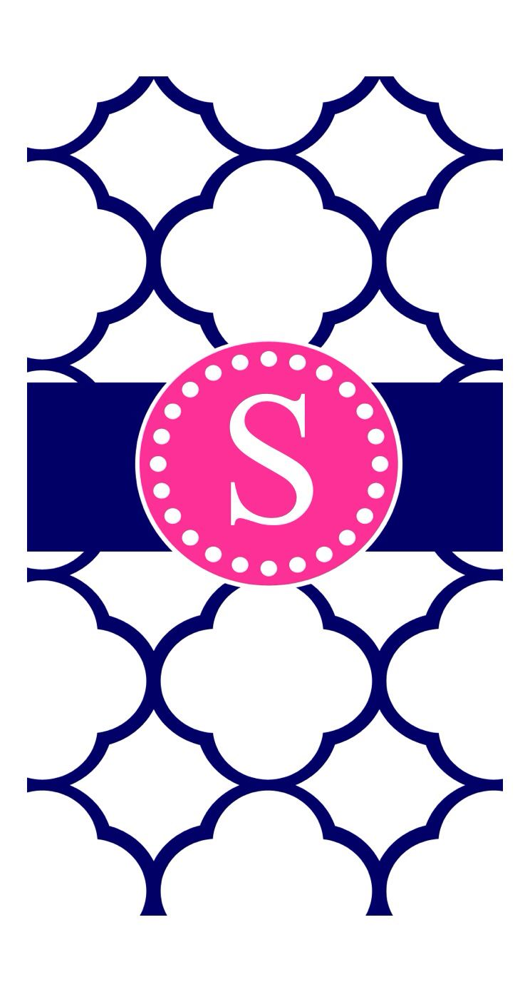 Navy blue and pink S monogram | Cute Phone Wallpaper in 2018 ...
