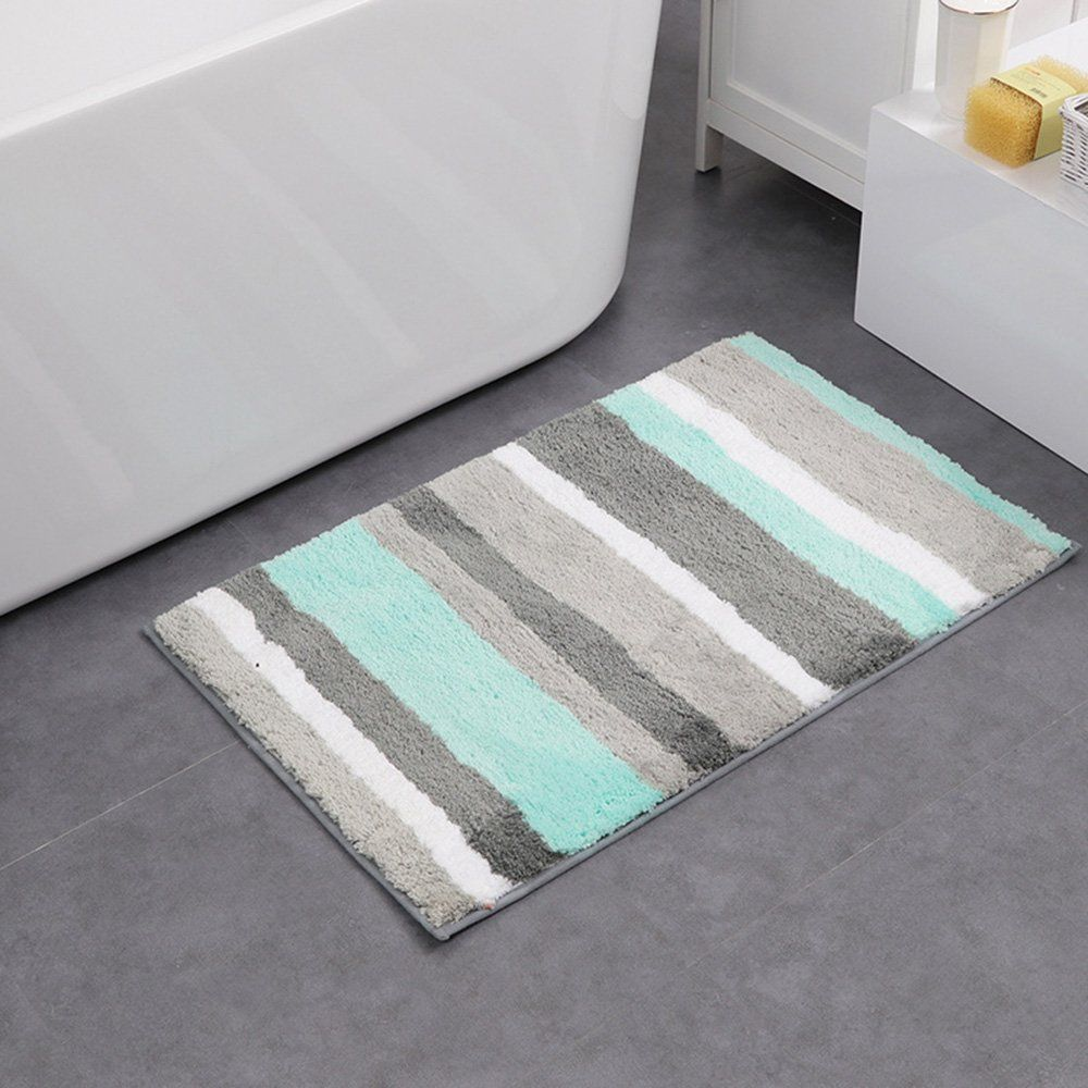 These bathroom rugs are made of high-quality microfiber,offering cushioning comfort and ultimate peace of mind—a great choice for any family,kids and pets friendly.Even more, the AmazonBasics bath mat provides professionally hemmed, double-stitched edges for enhanced strength, along with a thick, banded design for added visual appeal and interesting dimension.