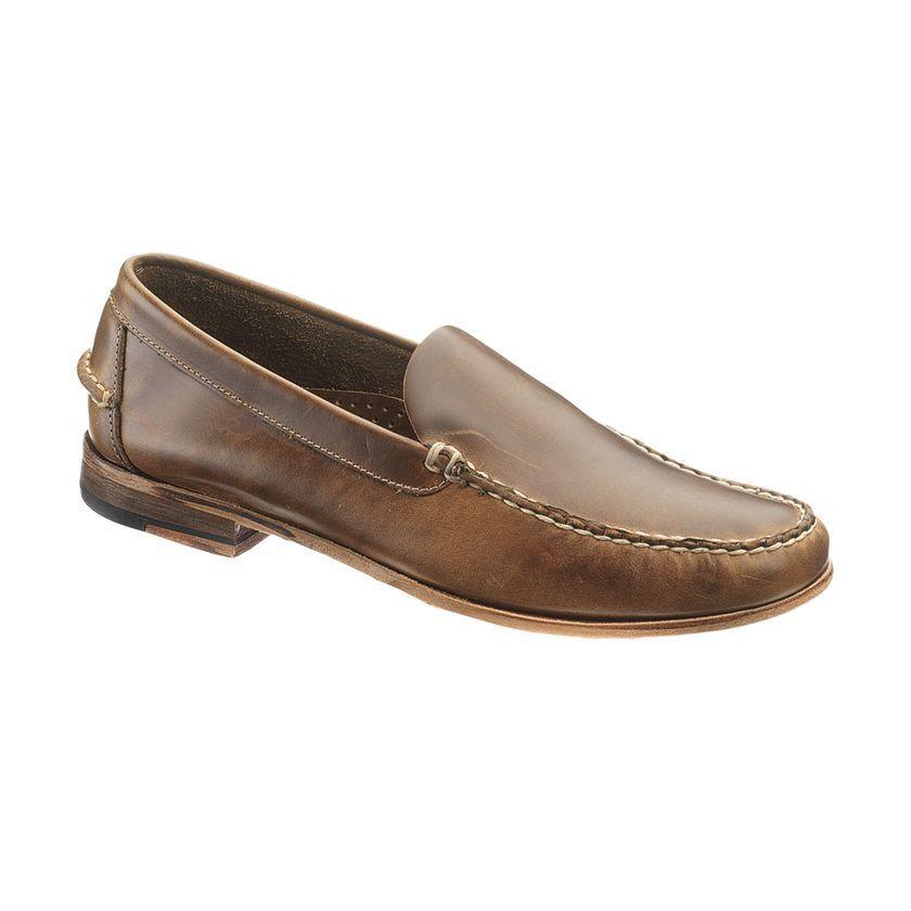 Sebago Mens WICKLOW MOC Cognac Brown Leather Casual Slip On Loafers B770000 #Sebago #LoafersSlipOns