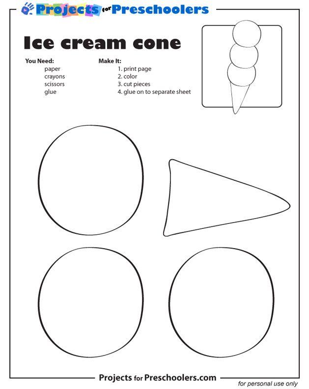 Shapes Ice Cream Cone printable Pool Time/Ice Cream Unit Easy