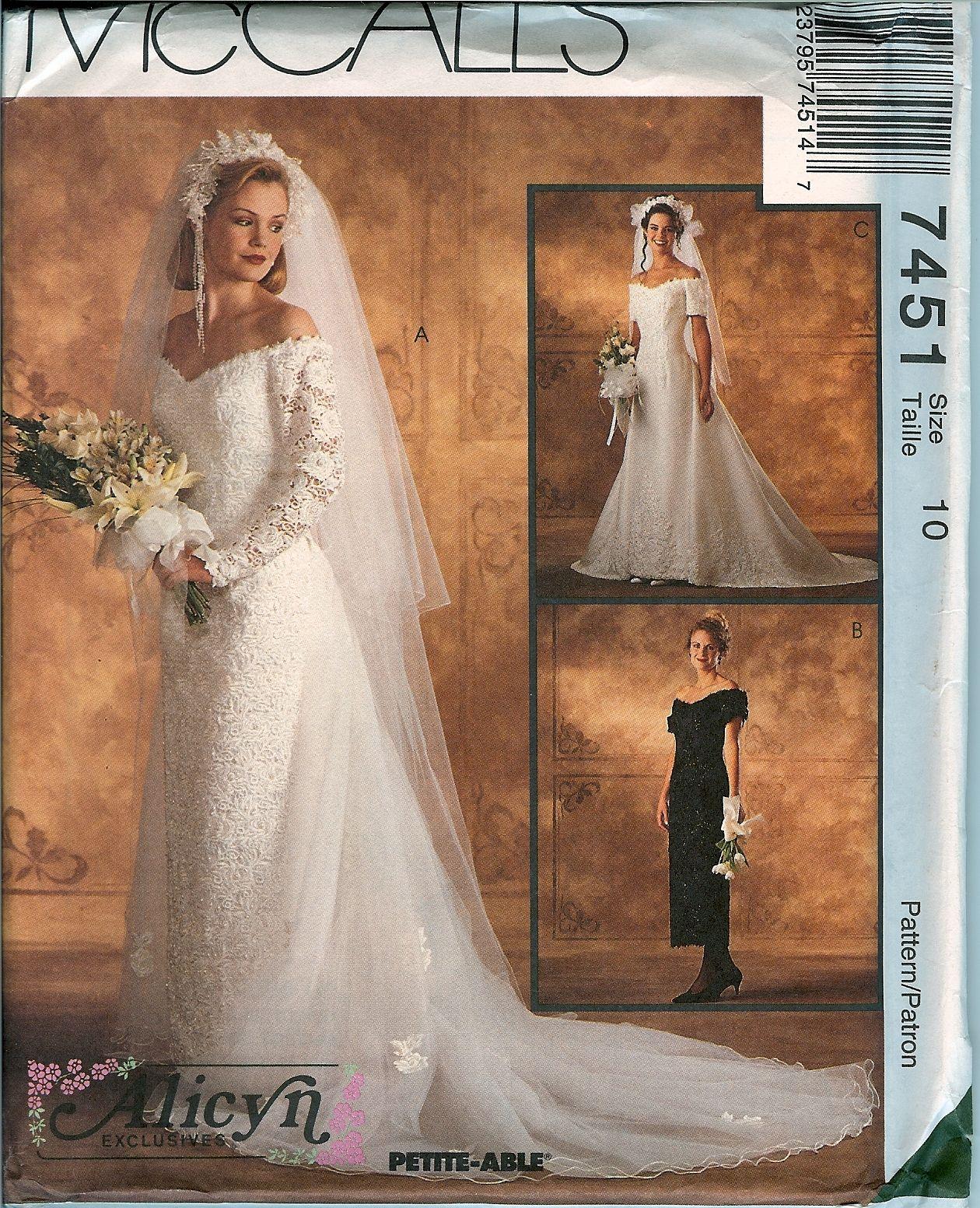McCalls 7451 Alicyn Bridal Wedding Vintage Gown Dress