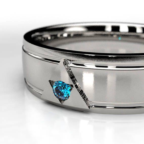 Zelda Blue Diamond Ring Legend Of Zelda Wedding Ring Triforce Ring Blue Diamond Wedding Ring Mens Wedding Bands Unique Silver Wedding Bands