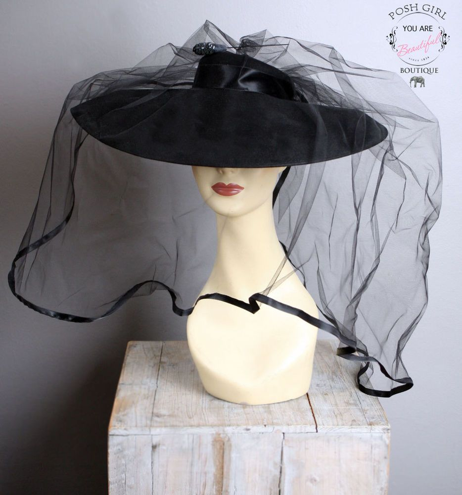 Antique Vintage Art Deco Black Mourning Hat Veil Rare Womens Funeral 1930s Art Deco Hats Hat With Veil Mourning Hat