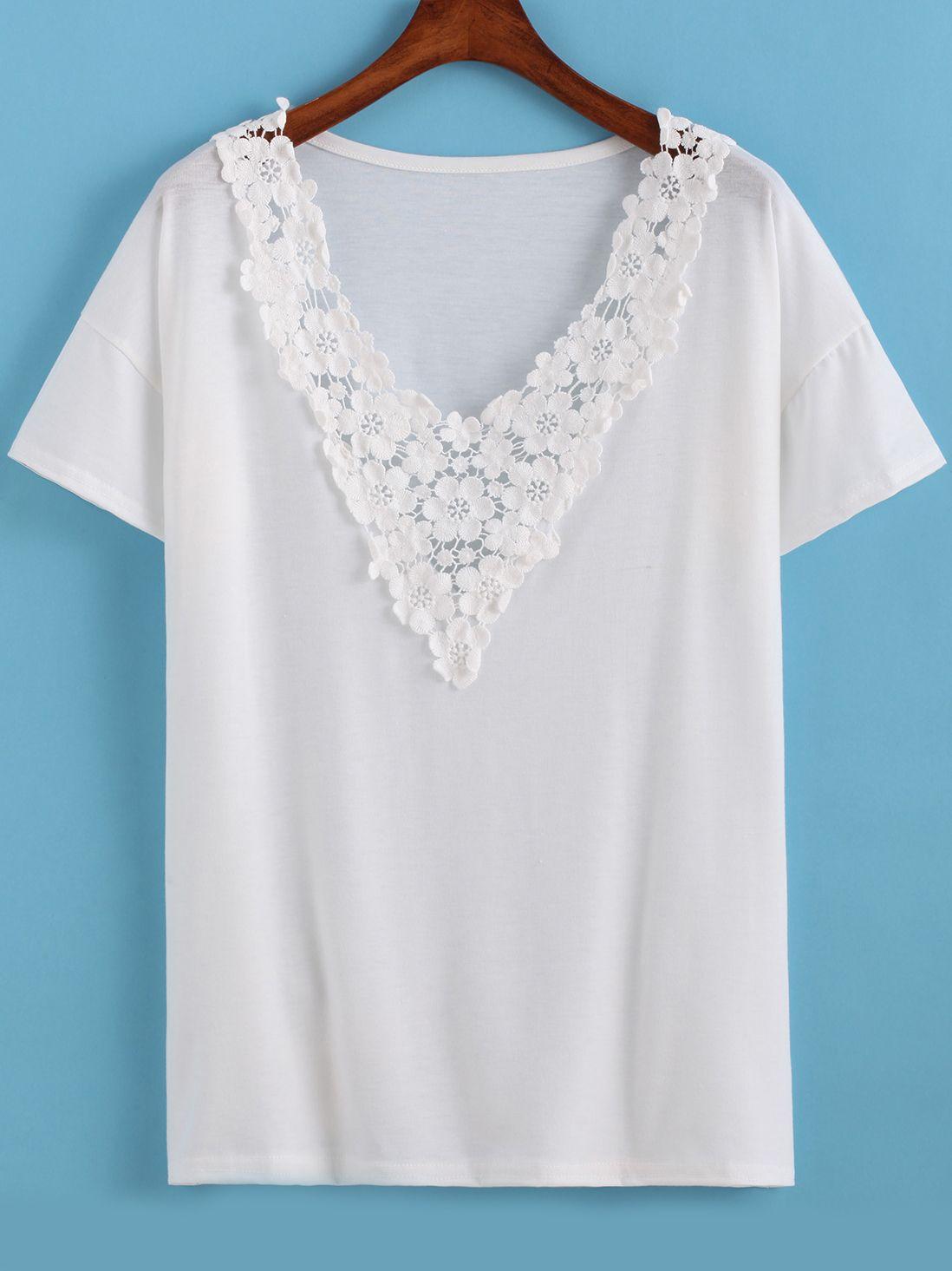 342bc1e38 Camiseta cuello V flores crochet -Sheinside