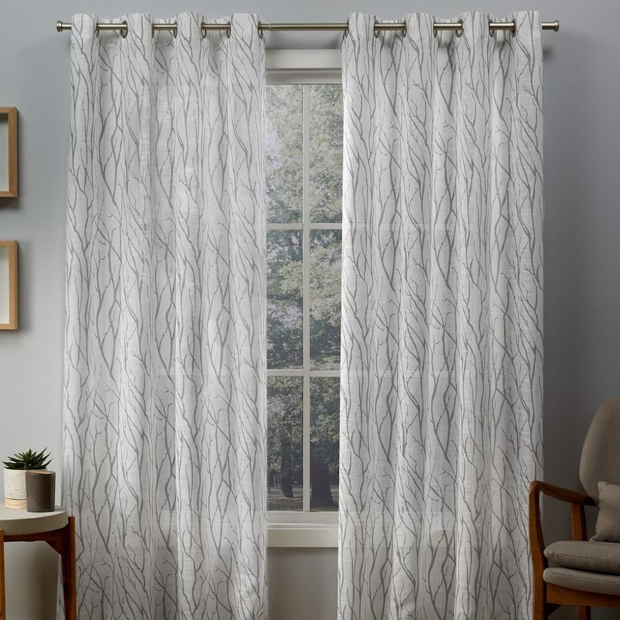 Exclusive Home 2 Pack Oakdale Motif Textured Sheer Window Curtains Grommet Top Curtains Grommet Curtains Panel Curtains