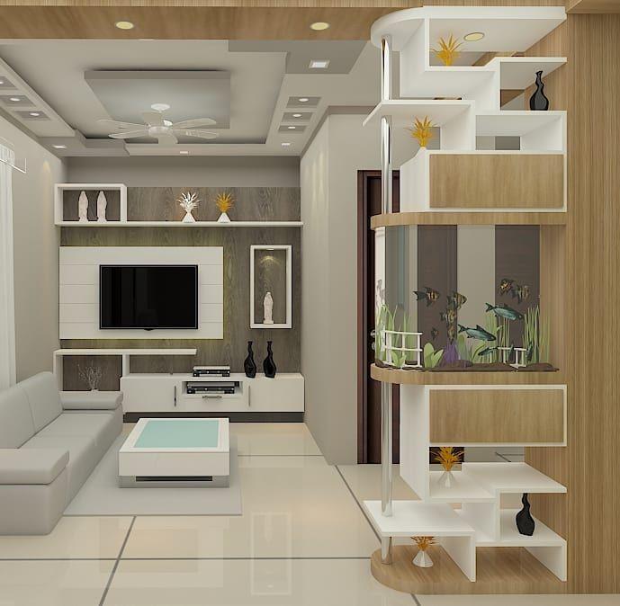 Dm For Designs Tv Unit With Aquarium Partition Kranthi Interior Livingr Living Room Tv Unit Designs Living Room Partition Design Luxury Living Room Design