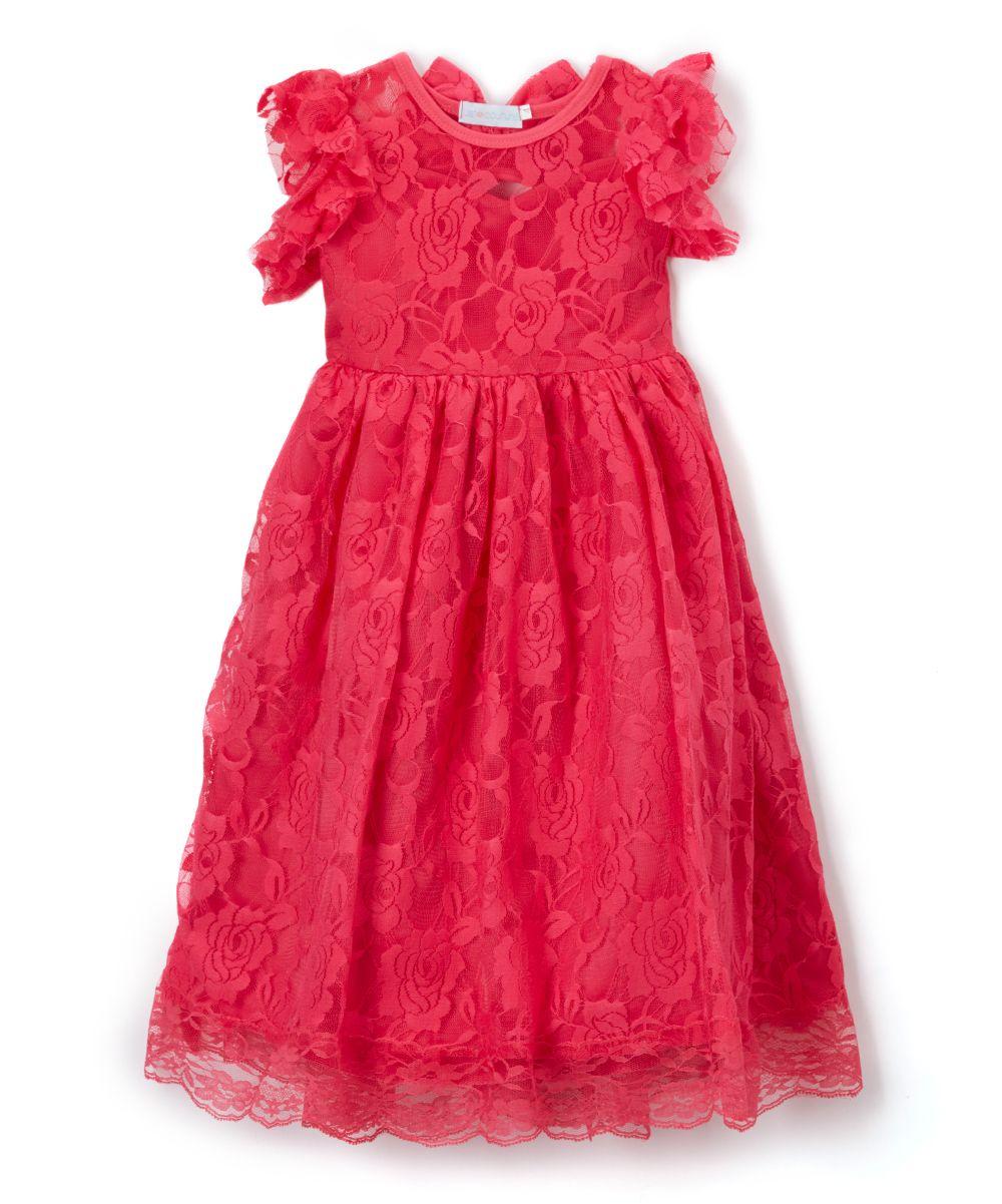 Pink Yarrow Lace Open-Back Flutter-Sleeve Dress - Infant Toddler & Girls