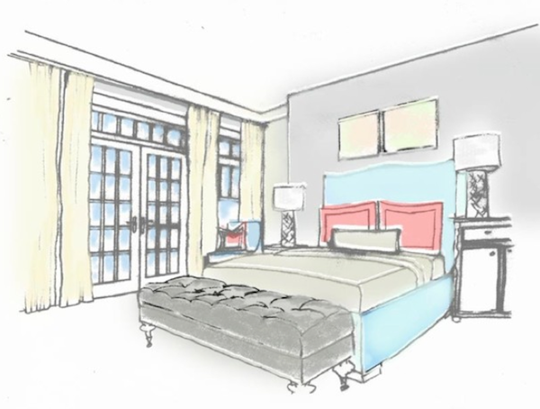 Bedroom Interior Design Drawing  rendered drawing - Google Search