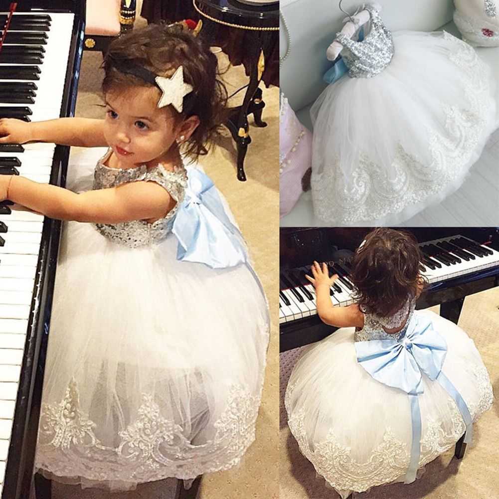 Lace dress for baby girl  New Baby Kids Girl Bowknot Princess Lace Floral Dress Christmas