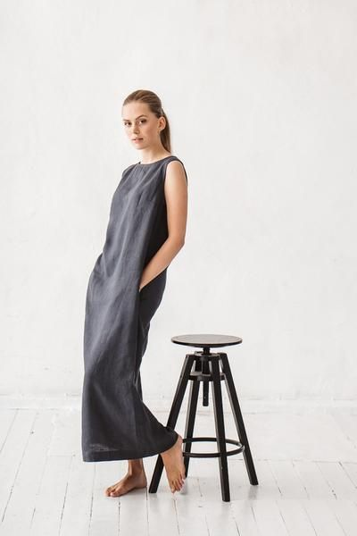 The Amber linen dress (graphite grey)
