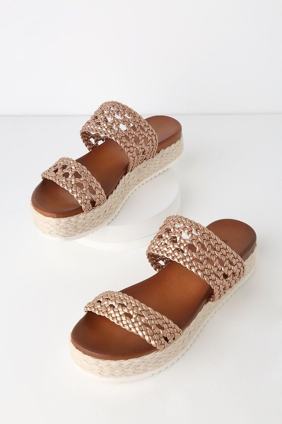 c35d95c7f Lulus | Oh My Mia Rose Gold Espadrille Flatform Sandal Heels | Size 7.5 |  Vegan