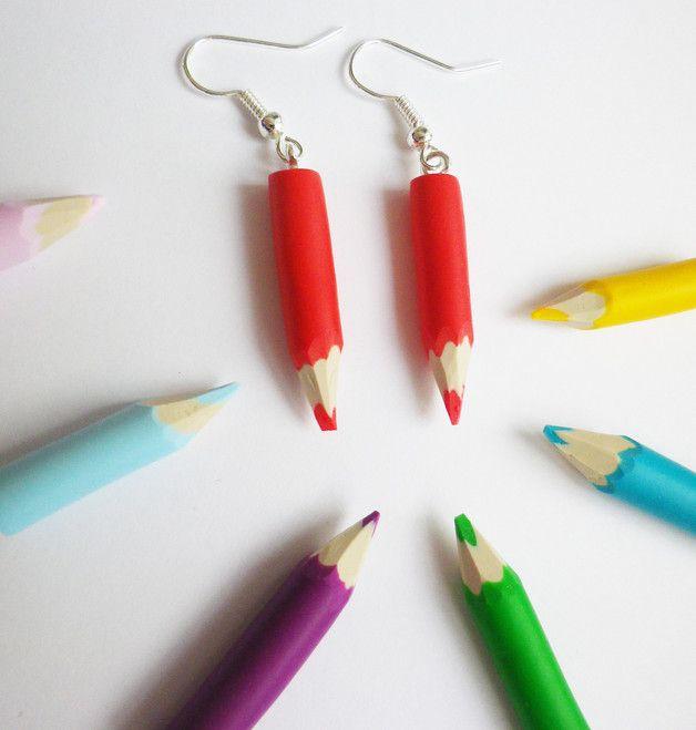 Un cadeau pour sa maîtresse idéal ! Boucles d'oreilles mini crayons sur DaWanda.com <3