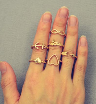 #Middle #Finger #Ring #Golden #Ring #Set   Item Code: R-01    Heart anchor infinity love finger ring set