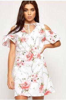 456764b25e3c Anna Floral Short Sleeve Cold Shoulder Dress-87821-20