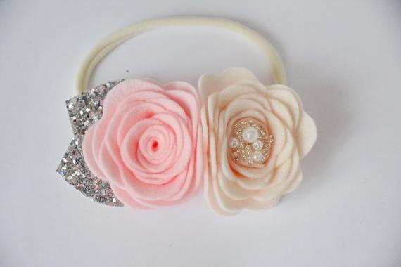 Felt Baby Headband Set, Felt Flower Headband, Felt Flamingo Hair Clip, Felt Hair Clip #feltflowerheadbands