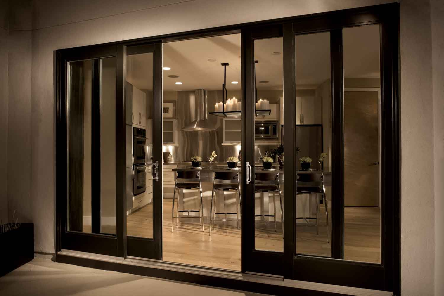 Double Sliding Glass Door FiberGlass Sliding Patio Door With 4 Panel  Configurations
