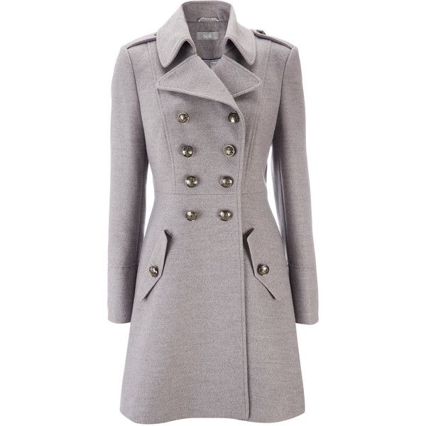 Grey Military Coat ($78) ❤ liked on Polyvore featuring outerwear ...