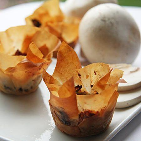mushroom phyllo shells (Vegan...if you sub vegan butter)