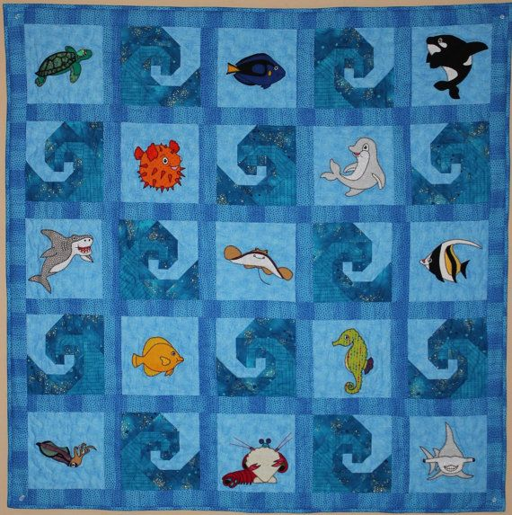 Ocean Animal Applique Pdf Baby Quilt Pattern Reef Buddies