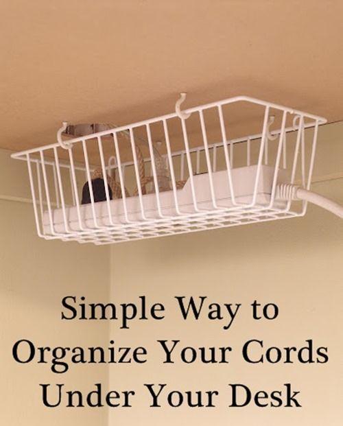 Organize Cords Under Your Desk.