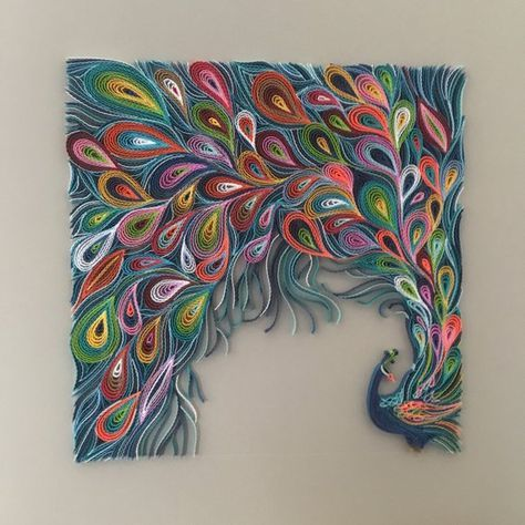 Quilled Abstract Peacock – Quilling Wall Art – The art of painting with 1/8″ (3 mm) paper strips