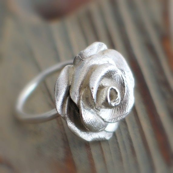 Rose Sterling Silver Ring by mariastudio on Etsy