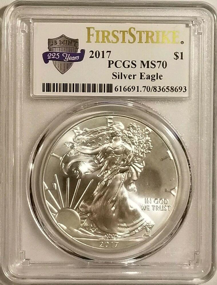 2017 American Silver Eagle 1 Oz 999 Fine Silver Pcgs Ms69 First Strike Usmint 2017 American Silver Eagle 1 In 2020 American Silver Eagle Silver Eagles Fine Silver