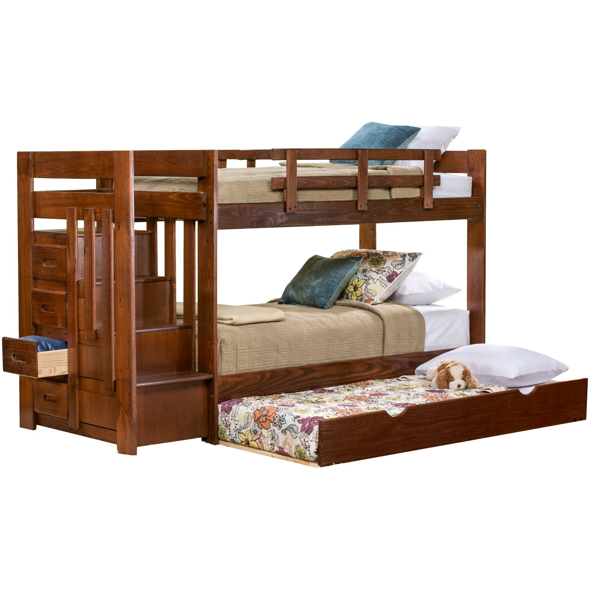 tanglewood choc tw tw stair bunk w trundl bunk bed with on Slumberland Bunk Beds id=25619