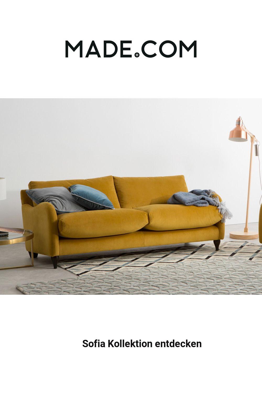 Made Sofa Gelb In 2020 3 Seater Sofa Sofa Living Room Bookcase