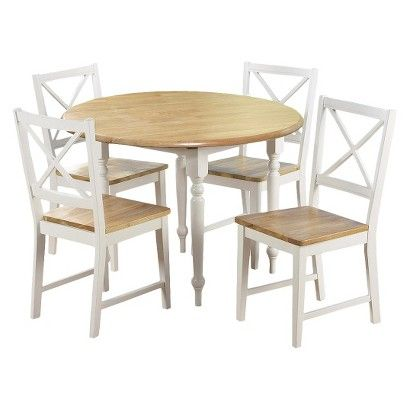 5 Piece Virginia Dining Set Wood White Tms Small Kitchen Table