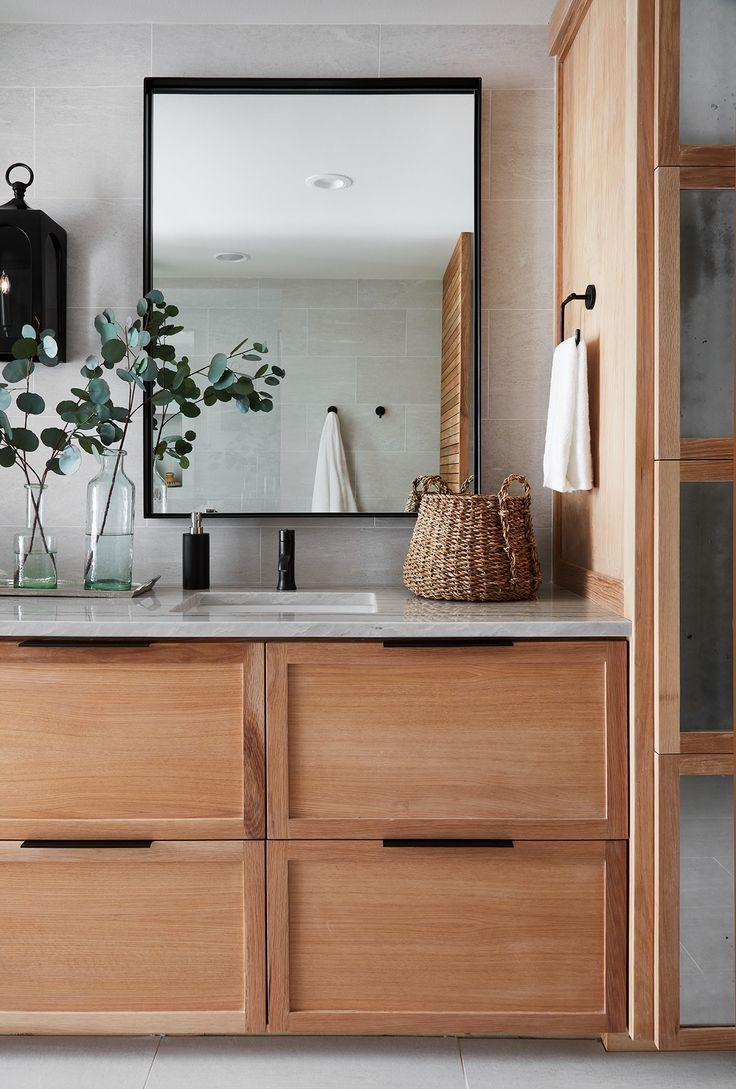Natural Wood Bathroom Vanity A Mix Of Mid Century Modern Bohemian And Industrial Interior Style Home Joanna Gaines Bathroom Wood Bathroom Vanity Interior
