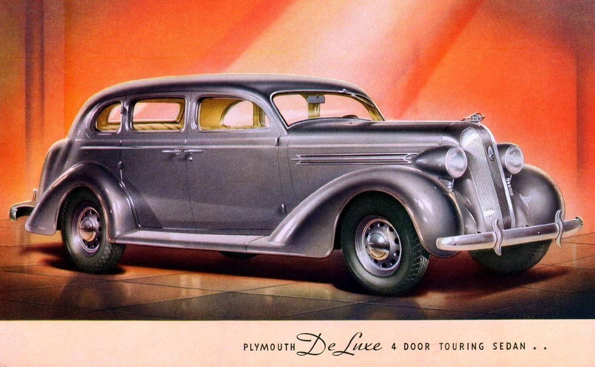 1936 Plymouth Deluxe 4 Door Touring Sedan Car Brochure Car Advertising Plymouth