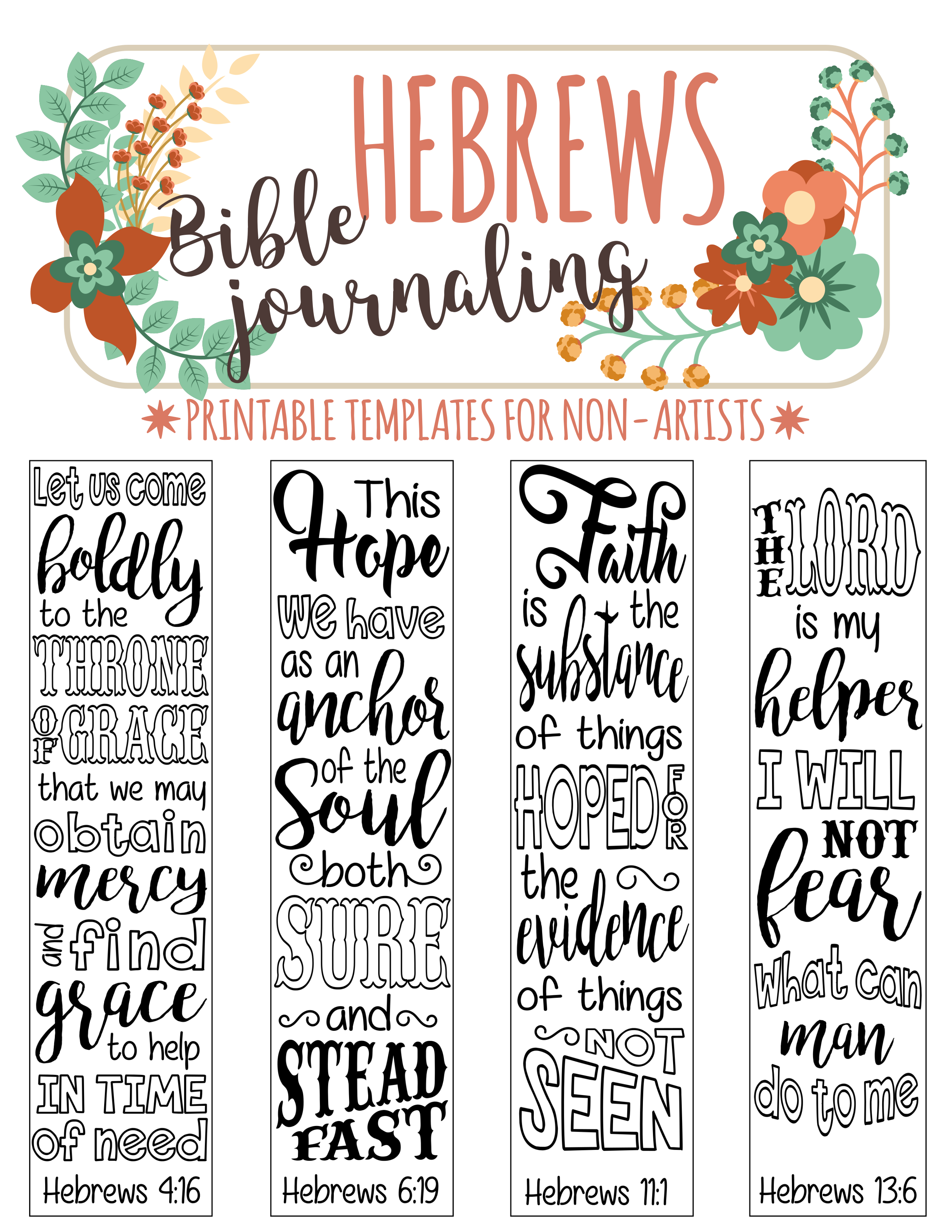 HEBREWS Printable Bible Journaling Template For Non Artists Just PRINT TRACE
