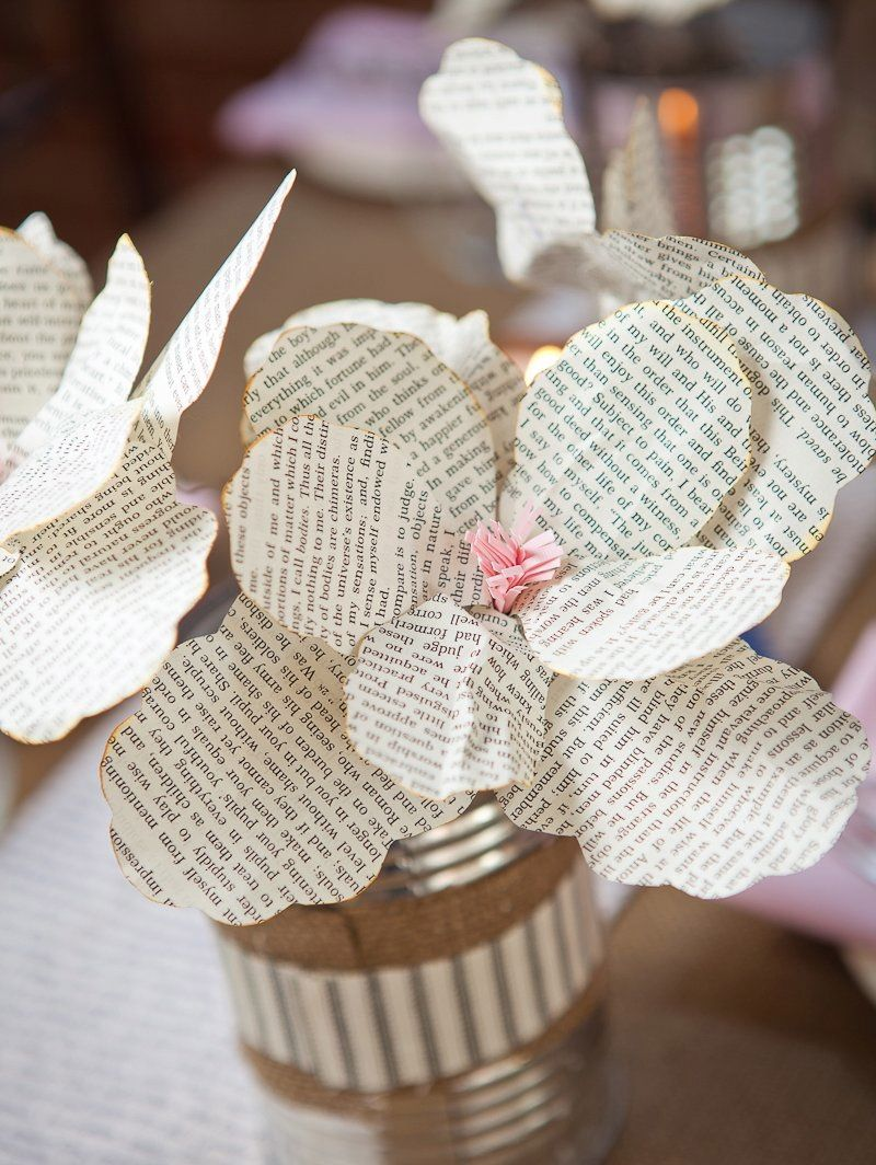 Book Lovers Style Shoot Made The Centerpiece Flowers Out Of Book