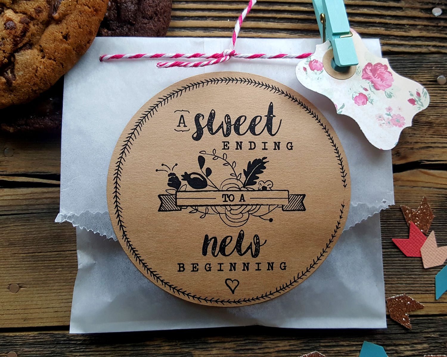 Boho Wedding Personalised White Paper Lolly Buffet Bags