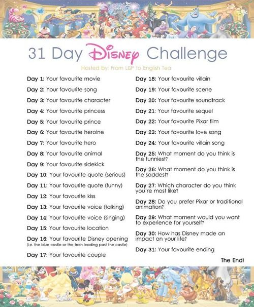 The 31 Day Disney Challenge I Want To Do This On Instagram In May