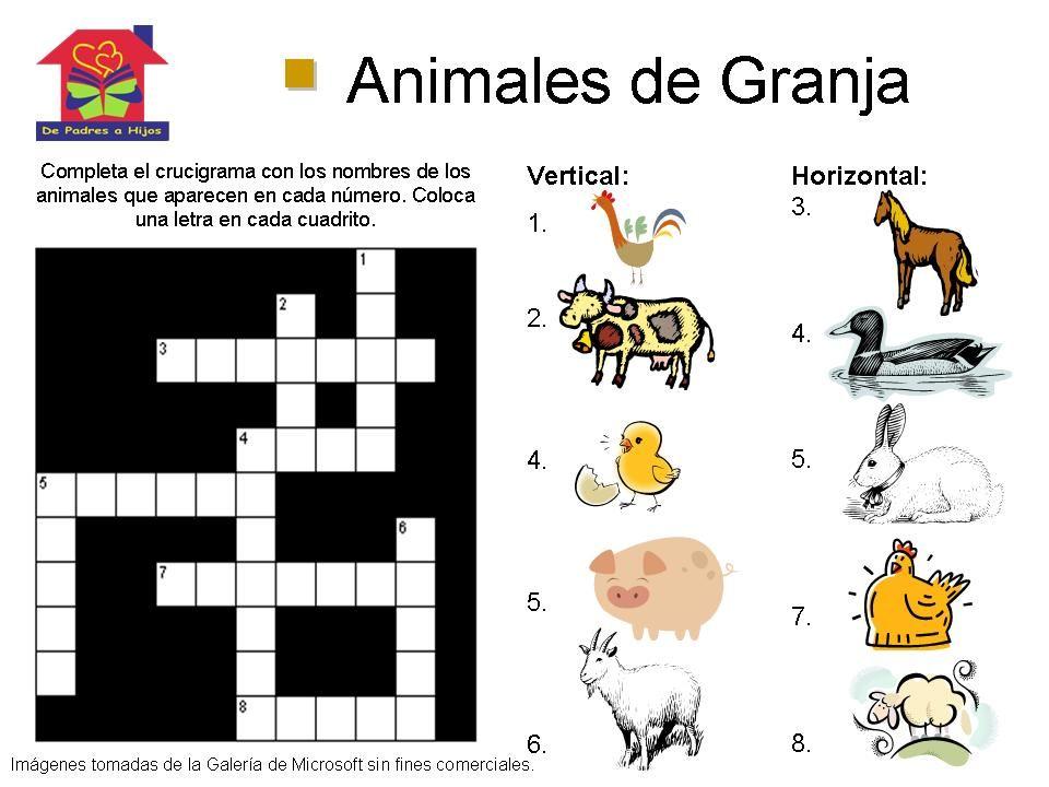 Crucigrama para niños sobre los animales de granja #juego ...