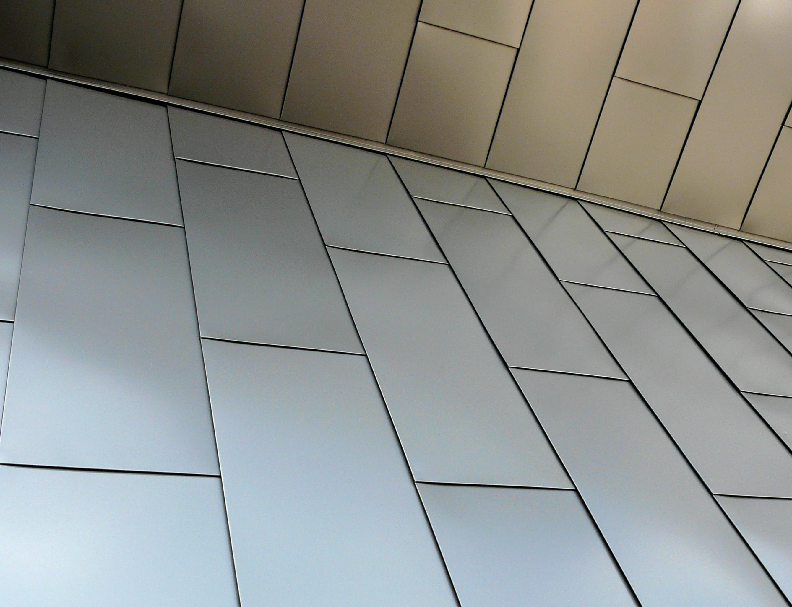 Flat Lock Rectangular Zinc Metal Paneling Primary Seams